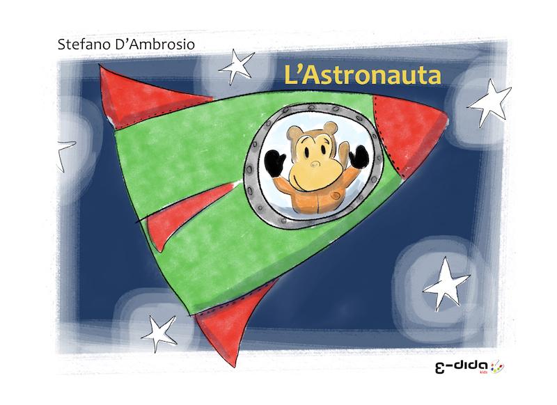"""Copertina del libro """"L'Astronauta"""". Mostra una scimmia in una navicella spaziale che sta viaggiando nello spazio."""