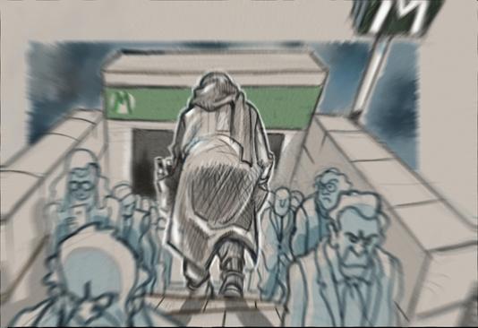Il mendicante entra nella metropolitana